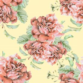picture of pencils  - Seamless pattern with beautiful spring flowers and plants drawn by hand with colored pencils - JPG