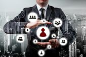 Hand carrying businessman icon network - HR,HRM,MLM, teamwork and leadership concept poster