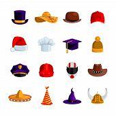 Постер, плакат: Hats And Caps Flat Color Icons
