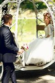 Fairy-tale Cinderella Wedding Carriage Magical Wedding Couple Bride And Groom In Park poster