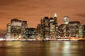 stock photo of new york skyline  - manhattan skyline at night lights new york city - JPG