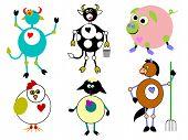 Family of Barnyard Farm Animals
