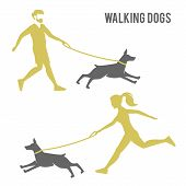 The guy and the girl walking a dog. poster