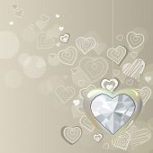 Diamond silver heart on light background