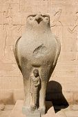 pic of horus  - Ancient egyptian granite statue of the falcon headed god Horus protecting the Pharaoh - JPG