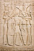 Pharaoh with Isis and Maat