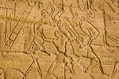 image of ramses  - Ancient Egyptian soldiers fighting in the Battle of Kadesh against the Hittites using spears and shields - JPG