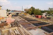 picture of construction industry  - construction site with concrete and steel structures - JPG