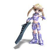female manga paladin with huge sword