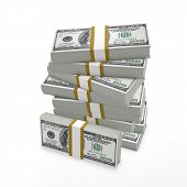 stock photo of money stack  - Stack of 100 dollar bills - JPG