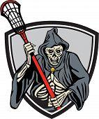 Grim Reaper Lacrosse Player Crosse Stick Retro poster