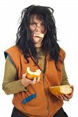 Happy Beggar Woman Eating  Bread