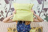 ������, ������: Girl Hiding Behind A Pillow