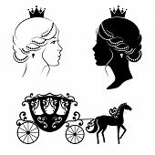 Profile silhouette of a princess and carriage poster