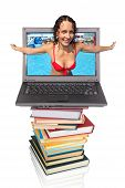 Swimsuit Woman From Notebook Computer On  Books , Collage
