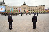 Soldiers Rank Participate In Rehearsal In Honor Of Great Patriotic War Victory