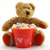 Valentine'S Day Bear With Candy Hearts poster