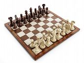 Постер, плакат: Chess Board With Wooden Chess Pieces