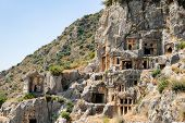 Ancient City Of Myra Near Demre. Turkey, Tombs Made In The Rock poster