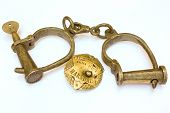 old badge and handcuffs