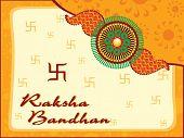 artwork, swastika background with isolated rakhi