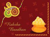 maroon swastika background with sweet pot and isolated rakhi