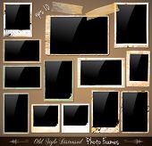 Collection of Vintage Photo Frames with antique distressed look. Behind black square background are