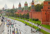 MOSCOW, RUSSIA - SEPTEMBER 12: Running people on Kremlin embankment in XXX Moscow International Peace Marathon on September 12, 2010 in Moscow, Russia. It is a popular festival of racing.