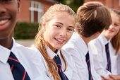 Portrait Of Teenage Students In Uniform Outside School Buildings poster