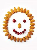 Smiley from nuts and berries