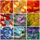 Abstract backgrounds, oil paints, set