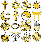 stock photo of khanda  - Set of 16 religious symbols, executed in line art. 