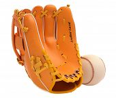 Sports And Leisure: Baseball Glove And Ball Isolated