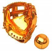 Sports In Usa: Golden Baseball Glove And Ball