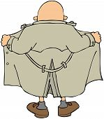 picture of pervert  - This illustration depicts a male flasher from the back opening his raincoat - JPG