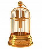 Yen Currency Symbol In Golden Birdcage