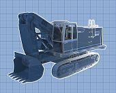 stock photo of jcb  - Perspective blueprint illustration of an industrial construction digger - JPG