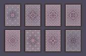 Set Of Mandala Background Cards. Vintage Elements. Vector Decorative Retro Greeting Card Or Invitati poster
