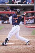 Binghamton Mets batter Brahiam Maldonado swings at a pitch in a game against the Portland Sea Dogs