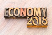 economy 2018 word abstract in vintage letterpress wood type poster