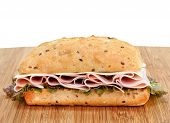 Ham, Swiss And Lettuce On A Whole Grain Roll