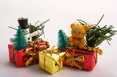 Christmas Gift Boxes Decorated With Toys & Bows