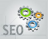 seo concept - text outline with gears