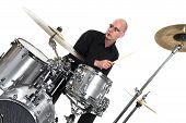 Drummer On White