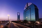 picture of riyadh  - A view of the city of Riyadh shows a main street and the Kingdom Tower and Commercial Complex - JPG