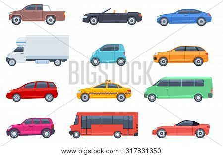 poster of Flat Cars Set. Taxi And Minivan, Cabriolet And Pickup. Bus And Suv, Truck. Urban, City Cars And Vehi