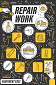 Home Repair, House Renovation And Construction Tools. Vector Hand Tools And Building Equipment Onlin poster
