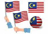 Malaysia Flag In Hand Set. Ball Flag. National Flag Of Malaysia Vector Illustration poster