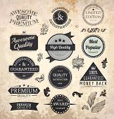 Collection of Premium Quality and Guarantee Labels with retro vintage styled design and old paper gr