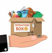 Cardboard Donation Box Full Of Toys, Books, Clothes And Devices. Help For Children, Support For Poor poster